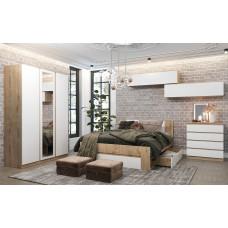 Марли Модульная спальня Дуб бунратти/Белый глянец №2