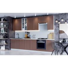 Модульная кухня Квадро 3,3м Шоколад кожа