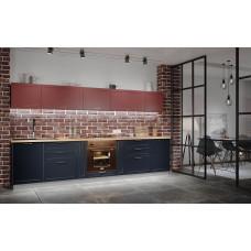 Модульная кухня Квадро 3,2м Красная кожа/Черника