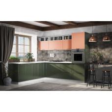 Модульная кухня Квадро 2,25*2,6м Персик/Оливково-зеленый
