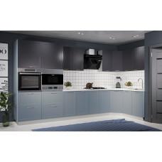 Модульная кухня Квадро 3,65*1,65м Железо/Лунный свет
