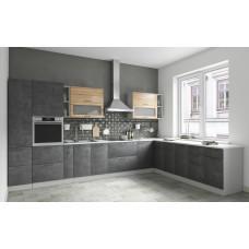 Модульная кухня Лофт 3,8*2,6м Бетон темный/Дуб цикорий